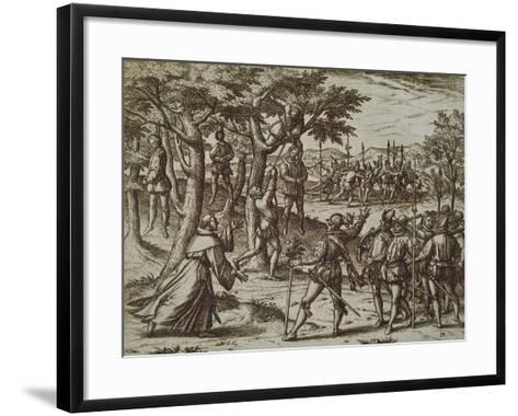 Sentence to Hanging of Some Men of Christopher Columbus in New World, 1590-Theodore de Bry-Framed Art Print