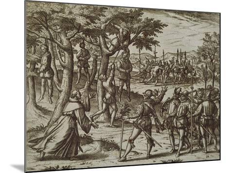 Sentence to Hanging of Some Men of Christopher Columbus in New World, 1590-Theodore de Bry-Mounted Giclee Print