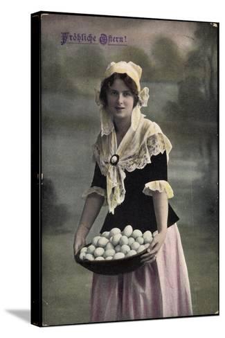 Gl?ckwunsch, Geburtstag, Frau in Kleid, Eier Im Korb--Stretched Canvas Print