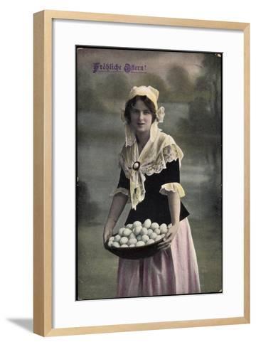 Gl?ckwunsch, Geburtstag, Frau in Kleid, Eier Im Korb--Framed Art Print