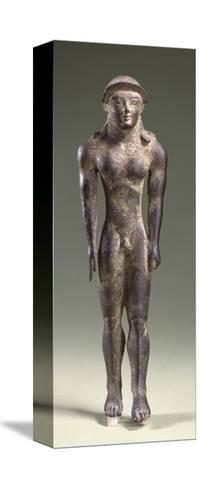 Bronze Statuette Depicting a Kouros, Front View, 7th Century BC--Stretched Canvas Print