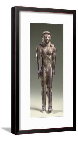 Bronze Statuette Depicting a Kouros, Front View, 7th Century BC--Framed Art Print