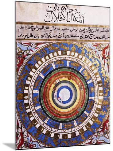 Celestial Map or Macrocosm from Ptolemaic Model, Miniature from Zubdat-Al Tawarikh-Silvestro Lega-Mounted Giclee Print