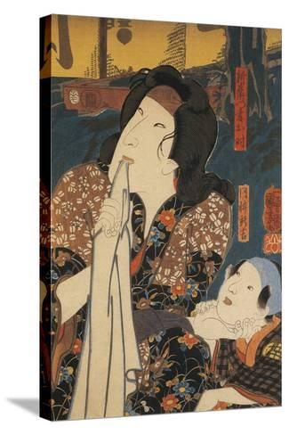 Actor in Pensive Pose Beside Child-Utagawa Toyokuni-Stretched Canvas Print
