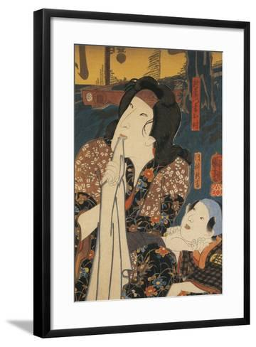 Actor in Pensive Pose Beside Child-Utagawa Toyokuni-Framed Art Print