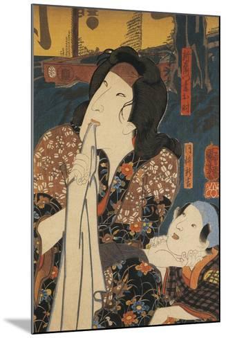 Actor in Pensive Pose Beside Child-Utagawa Toyokuni-Mounted Giclee Print