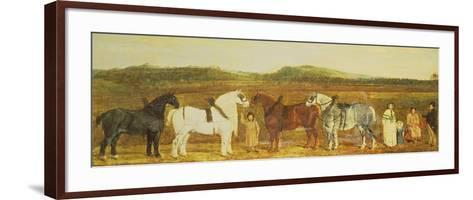 A Farmer with His Family, Farm Workers, and Four Shire Horses-William Stott-Framed Art Print