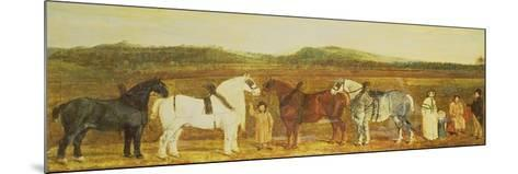 A Farmer with His Family, Farm Workers, and Four Shire Horses-William Stott-Mounted Giclee Print