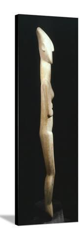 Female Figure Statue, Greece, Side View, Cycladic Civilization, 3500-1050 BC--Stretched Canvas Print