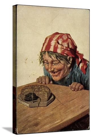 Künstler Kaulbach, Hermann, Maus in Der Falle, Bäuerin Freut Sich--Stretched Canvas Print