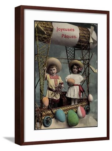 Frohe Ostern, Kinder, Ballonfahrt, Ostereier--Framed Art Print