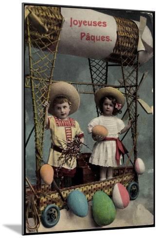 Frohe Ostern, Kinder, Ballonfahrt, Ostereier--Mounted Giclee Print
