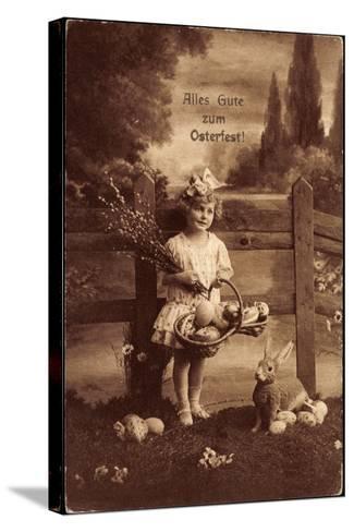 Glückwunsch Ostern, Mädchen Mit Weidenkätzen, Hase--Stretched Canvas Print