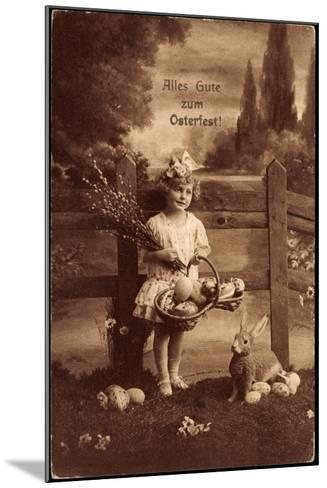 Glückwunsch Ostern, Mädchen Mit Weidenkätzen, Hase--Mounted Giclee Print