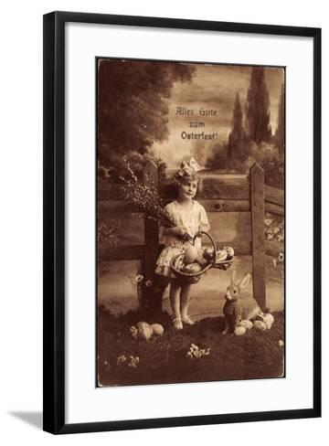 Glückwunsch Ostern, Mädchen Mit Weidenkätzen, Hase--Framed Art Print
