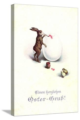 Künstler Frohe Ostern, Osterhase Bemalt Osterei, Küken--Stretched Canvas Print