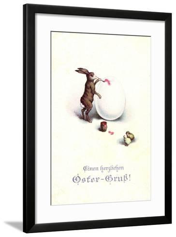 Künstler Frohe Ostern, Osterhase Bemalt Osterei, Küken--Framed Art Print