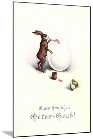 Künstler Frohe Ostern, Osterhase Bemalt Osterei, Küken--Mounted Giclee Print