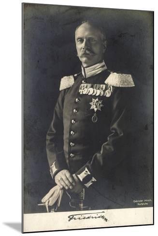 Herzog Friedrich Ii Von Baden in Uniform, Portrait--Mounted Giclee Print