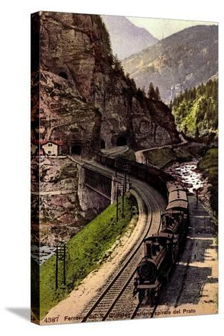 Prato Tessin, Ferrovia Des S. Gottardo, Dampflok--Stretched Canvas Print