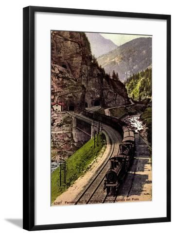 Prato Tessin, Ferrovia Des S. Gottardo, Dampflok--Framed Art Print