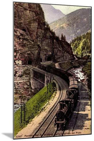 Prato Tessin, Ferrovia Des S. Gottardo, Dampflok--Mounted Giclee Print