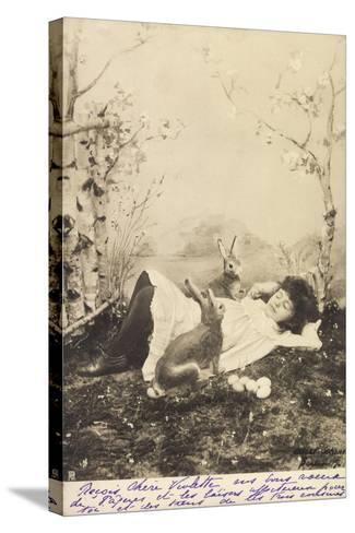 Glückwunsch Ostern, Mädchen Schlafend Mit Hasen--Stretched Canvas Print