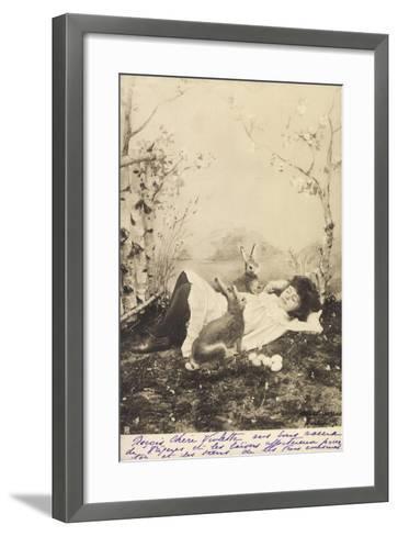 Glückwunsch Ostern, Mädchen Schlafend Mit Hasen--Framed Art Print