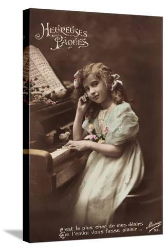 Mädchen Sitzt an Einem Klavier, Noten, Vögel--Stretched Canvas Print
