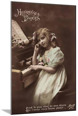 Mädchen Sitzt an Einem Klavier, Noten, Vögel--Mounted Giclee Print