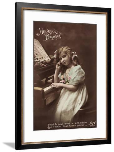 Mädchen Sitzt an Einem Klavier, Noten, Vögel--Framed Art Print