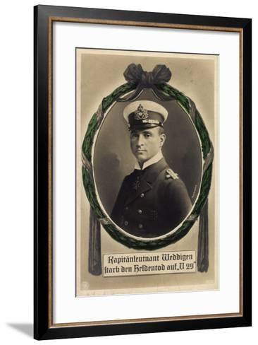 Passepartout Kapitänleutnant Weddigen, U 29, Heldentod--Framed Art Print
