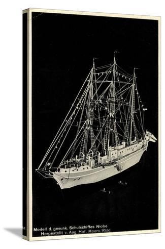 Modell Des Gesunkenen Segelschulschiffes Niobe--Stretched Canvas Print