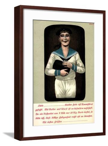 K?nstler Seemann Mit Einem Brotleib in Den H?nden--Framed Art Print