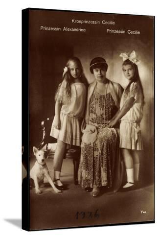Kronprinzessin Cecilie Mit Ihren Töchter Alexandrine Und Cecilie, Terrier--Stretched Canvas Print