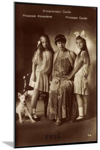 Kronprinzessin Cecilie Mit Ihren Töchter Alexandrine Und Cecilie, Terrier--Mounted Giclee Print