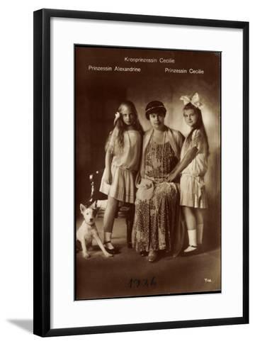 Kronprinzessin Cecilie Mit Ihren Töchter Alexandrine Und Cecilie, Terrier--Framed Art Print