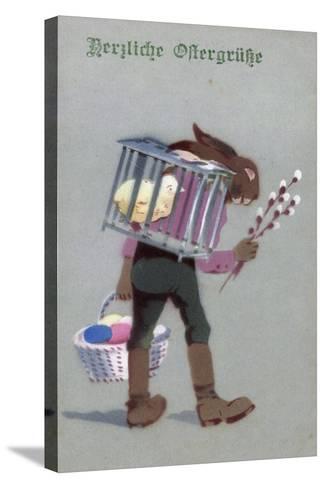 Künstler Glückwunsch Ostern, Hase Mit Eiern, Küken--Stretched Canvas Print