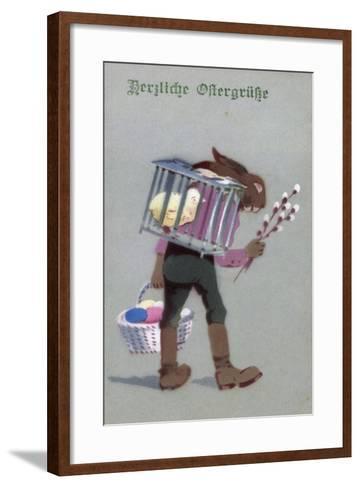 Künstler Glückwunsch Ostern, Hase Mit Eiern, Küken--Framed Art Print