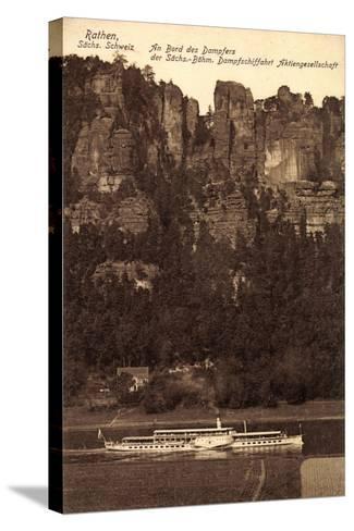 Rathen Sächs. Schweiz, Dampfer Dresden, Felsen--Stretched Canvas Print
