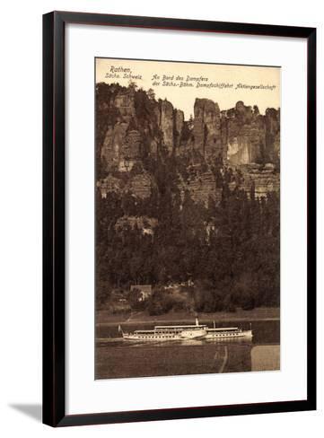 Rathen Sächs. Schweiz, Dampfer Dresden, Felsen--Framed Art Print