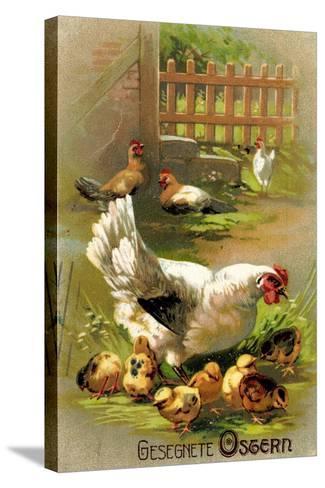 Glückwunsch Ostern, Henne Mit Ihren Küken--Stretched Canvas Print