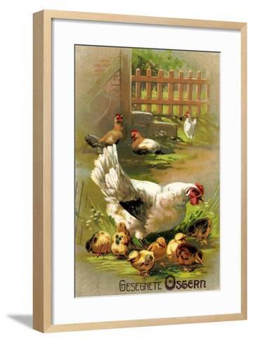 Glückwunsch Ostern, Henne Mit Ihren Küken--Framed Art Print