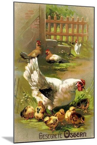 Glückwunsch Ostern, Henne Mit Ihren Küken--Mounted Giclee Print