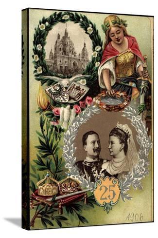 Präge Litho Kaiserpaar, Silberne Hochzeit, Berliner Dom--Stretched Canvas Print