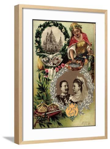 Präge Litho Kaiserpaar, Silberne Hochzeit, Berliner Dom--Framed Art Print