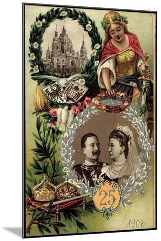 Präge Litho Kaiserpaar, Silberne Hochzeit, Berliner Dom--Mounted Giclee Print