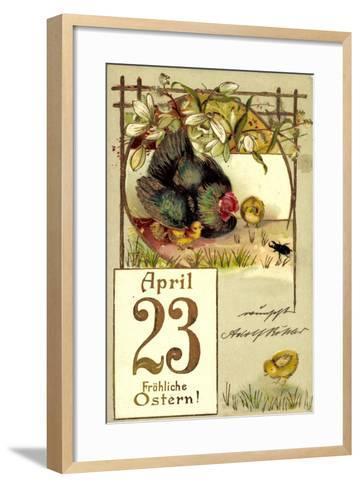 Präge Frohe Ostern, Küken, Huhn, April 23, Kalender--Framed Art Print