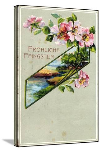 Präge Litho Glückwunsch Pfingsten, Apfelblütenzweig--Stretched Canvas Print
