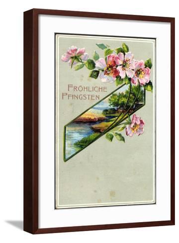 Präge Litho Glückwunsch Pfingsten, Apfelblütenzweig--Framed Art Print